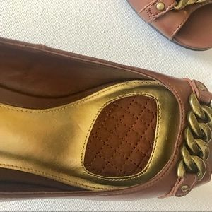 Chaps Shoes - Chaps Brown Open Toe Wedges Size 8 Chain Accent